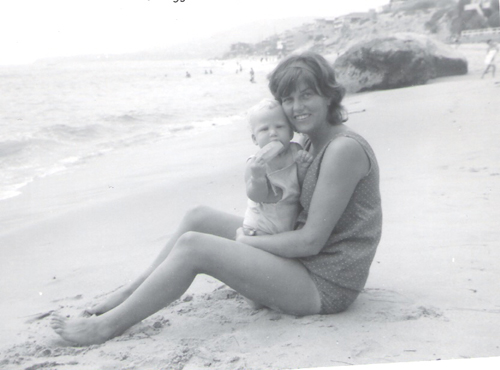 On the beach with mom