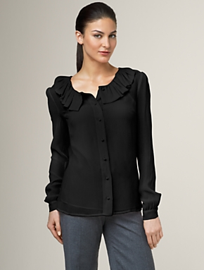 Crinkled silk ruffle shirt