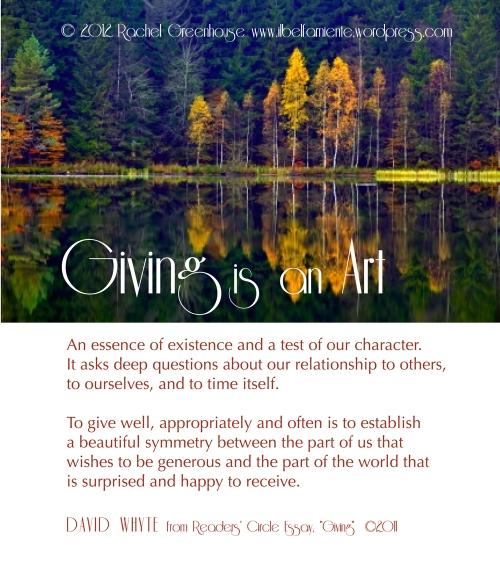 Giving is an art